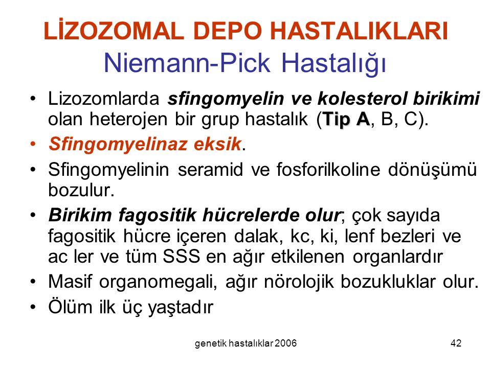 genetik hastalıklar 200642 LİZOZOMAL DEPO HASTALIKLARI Niemann-Pick Hastalığı Tip ALizozomlarda sfingomyelin ve kolesterol birikimi olan heterojen bir