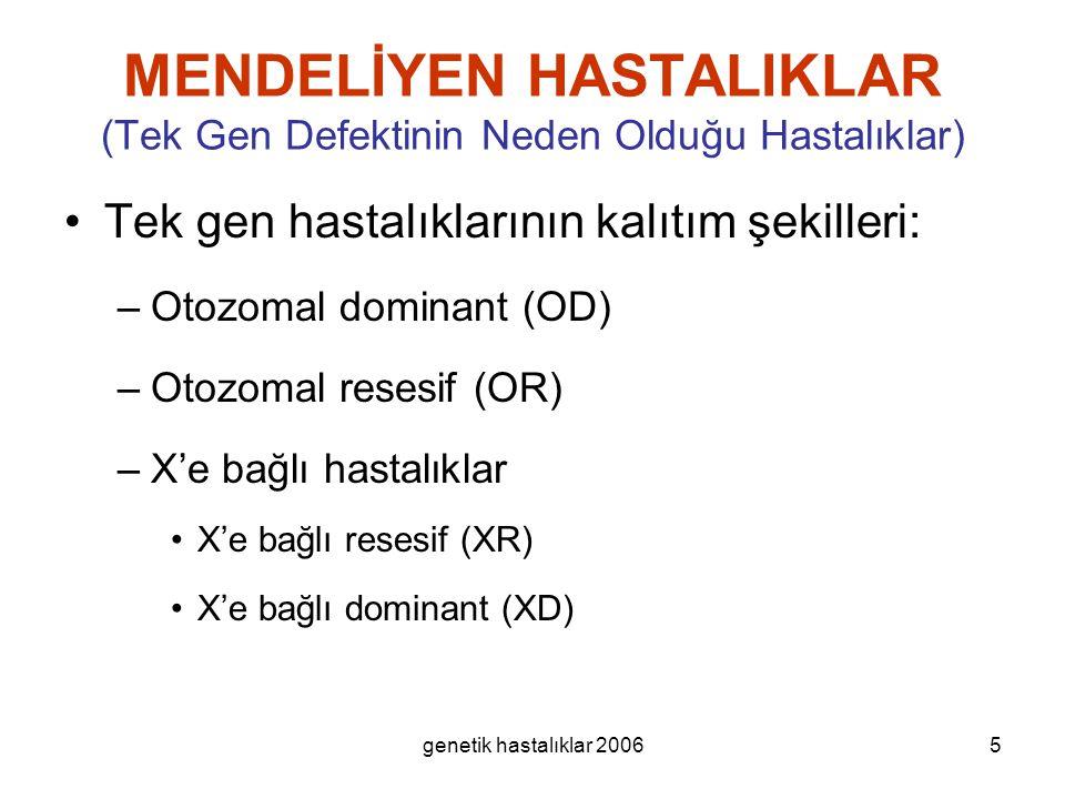 genetik hastalıklar 20065 MENDELİYEN HASTALIKLAR (Tek Gen Defektinin Neden Olduğu Hastalıklar) Tek gen hastalıklarının kalıtım şekilleri: –Otozomal do