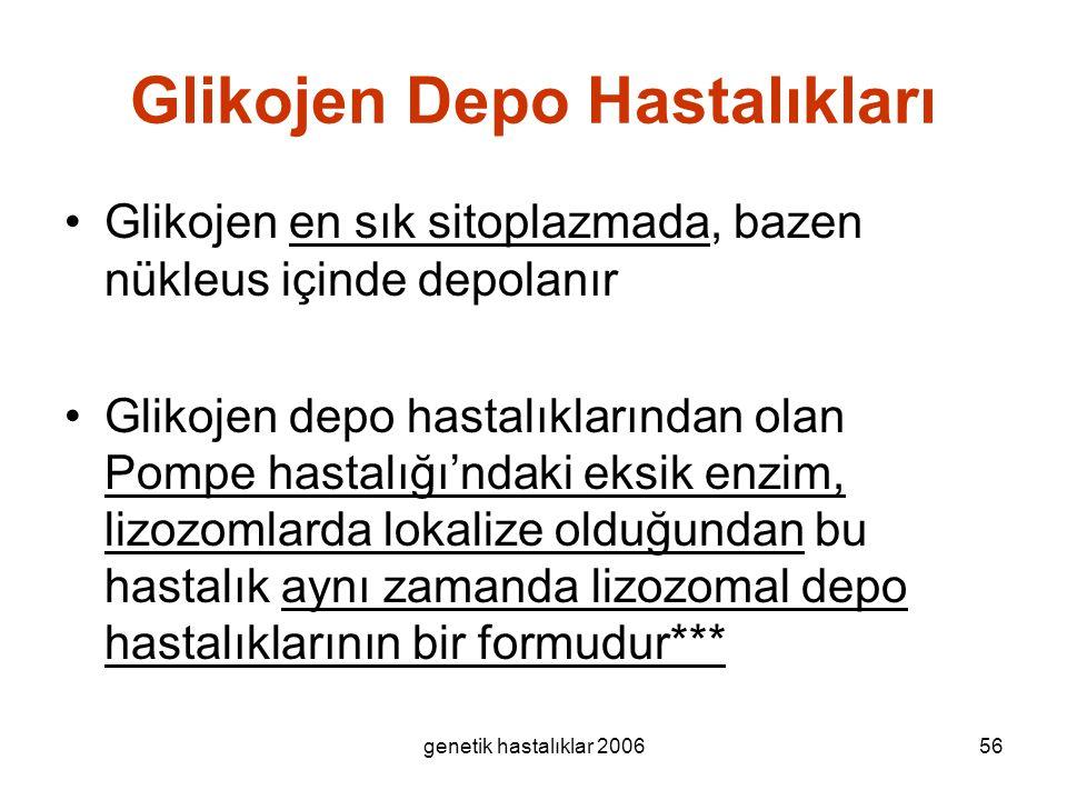 genetik hastalıklar 200656 Glikojen Depo Hastalıkları Glikojen en sık sitoplazmada, bazen nükleus içinde depolanır Glikojen depo hastalıklarından olan