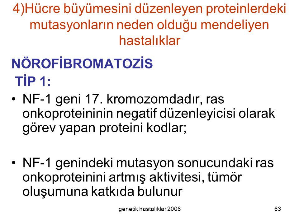 genetik hastalıklar 200663 4)Hücre büyümesini düzenleyen proteinlerdeki mutasyonların neden olduğu mendeliyen hastalıklar NÖROFİBROMATOZİS TİP 1: NF-1