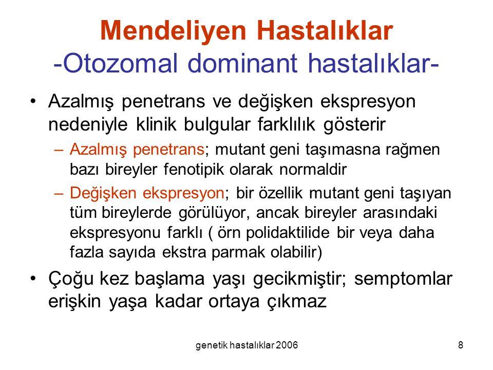 genetik hastalıklar 20068 Mendeliyen Hastalıklar -Otozomal dominant hastalıklar- Azalmış penetrans ve değişken ekspresyon nedeniyle klinik bulgular fa