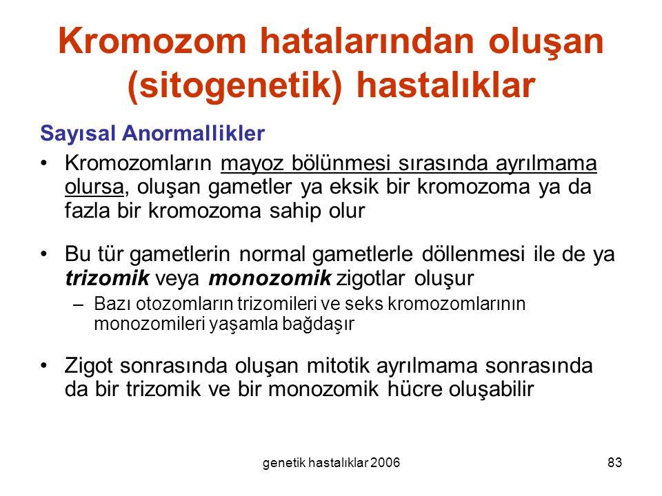 genetik hastalıklar 200683 Kromozom hatalarından oluşan (sitogenetik) hastalıklar Sayısal Anormallikler Kromozomların mayoz bölünmesi sırasında ayrılm