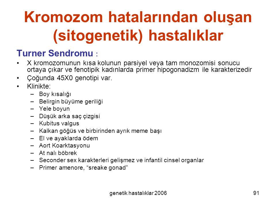 genetik hastalıklar 200691 Kromozom hatalarından oluşan (sitogenetik) hastalıklar Turner Sendromu : X kromozomunun kısa kolunun parsiyel veya tam mono