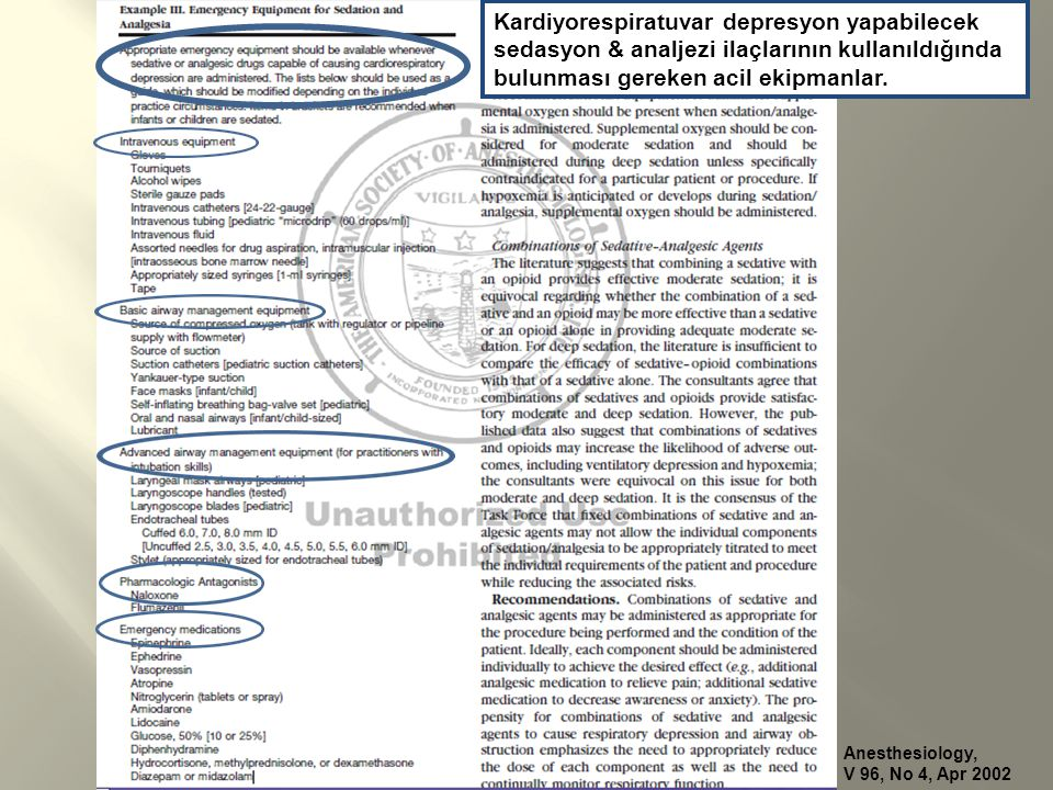 Anesthesiology, V 96, No 4, Apr 2002 Kardiyorespiratuvar depresyon yapabilecek sedasyon & analjezi ilaçlarının kullanıldığında bulunması gereken acil