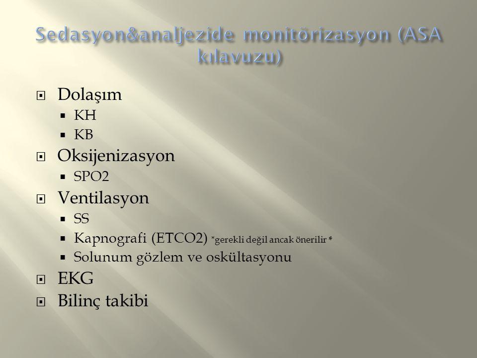  Dolaşım  KH  KB  Oksijenizasyon  SPO2  Ventilasyon  SS  Kapnografi (ETCO2) *gerekli değil ancak önerilir *  Solunum gözlem ve oskültasyonu 