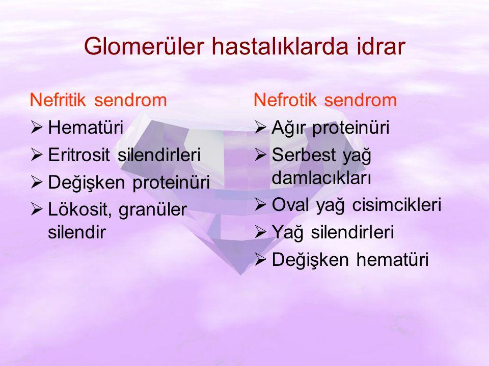 Glomerüler hastalıklarda idrar Nefritik sendrom  Hematüri  Eritrosit silendirleri  Değişken proteinüri  Lökosit, granüler silendir Nefrotik sendrom  Ağır proteinüri  Serbest yağ damlacıkları  Oval yağ cisimcikleri  Yağ silendirleri  Değişken hematüri