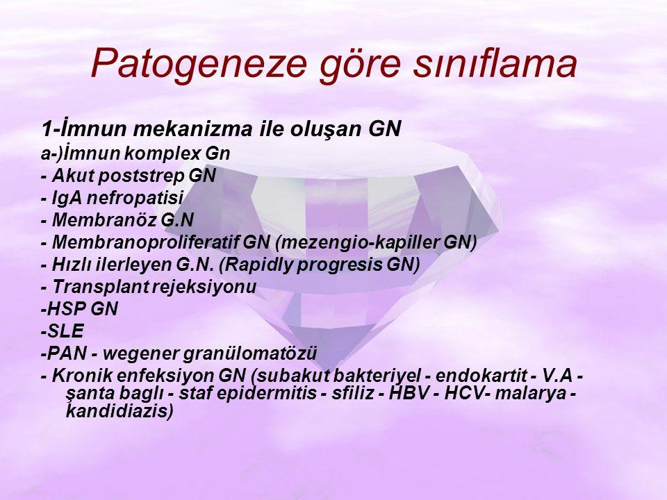 Patogeneze göre sınıflama 1-İmnun mekanizma ile oluşan GN a-)İmnun komplex Gn - Akut poststrep GN - IgA nefropatisi - Membranöz G.N - Membranoproliferatif GN (mezengio-kapiller GN) - Hızlı ilerleyen G.N.