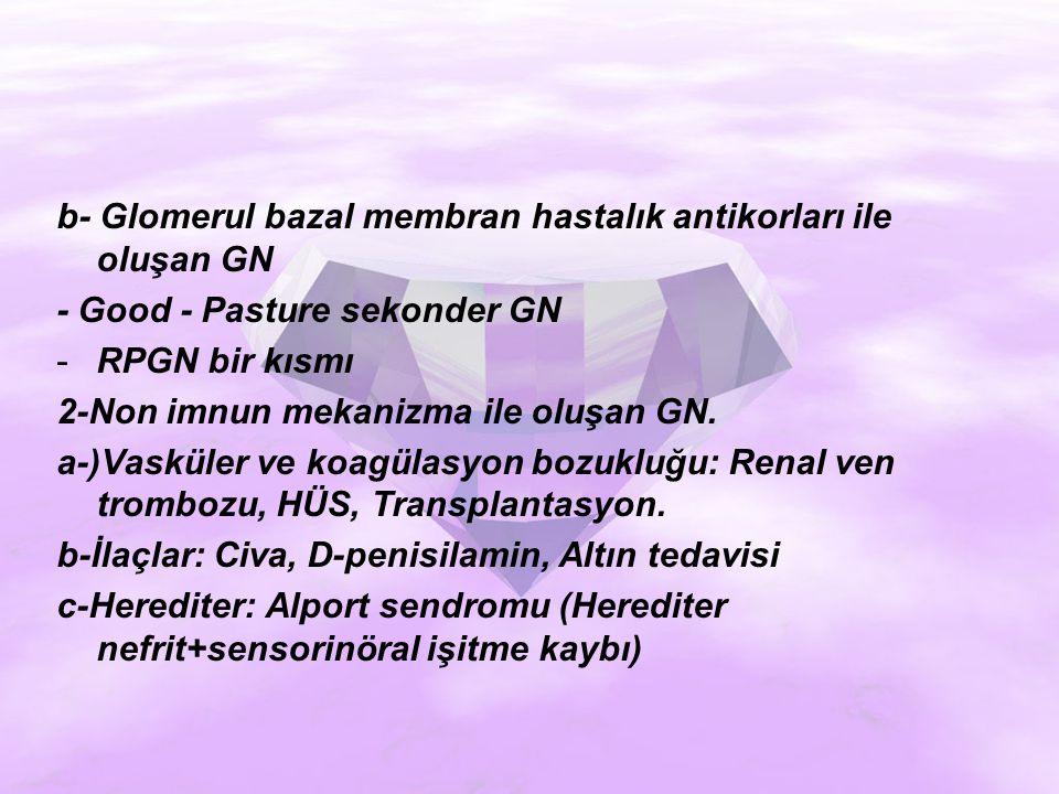 b- Glomerul bazal membran hastalık antikorları ile oluşan GN - Good - Pasture sekonder GN -RPGN bir kısmı 2-Non imnun mekanizma ile oluşan GN.
