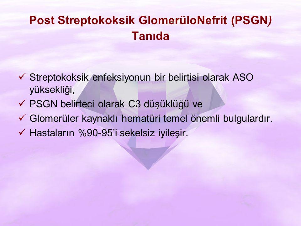 Post Streptokoksik GlomerüloNefrit (PSGN) Tanıda Streptokoksik enfeksiyonun bir belirtisi olarak ASO yüksekliği, PSGN belirteci olarak C3 düşüklüğü ve Glomerüler kaynaklı hematüri temel önemli bulgulardır.