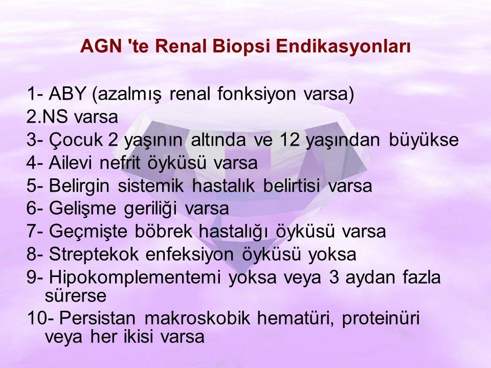AGN te Renal Biopsi Endikasyonları 1- ABY (azalmış renal fonksiyon varsa) 2.NS varsa 3- Çocuk 2 yaşının altında ve 12 yaşından büyükse 4- Ailevi nefrit öyküsü varsa 5- Belirgin sistemik hastalık belirtisi varsa 6- Gelişme geriliği varsa 7- Geçmişte böbrek hastalığı öyküsü varsa 8- Streptekok enfeksiyon öyküsü yoksa 9- Hipokomplementemi yoksa veya 3 aydan fazla sürerse 10- Persistan makroskobik hematüri, proteinüri veya her ikisi varsa