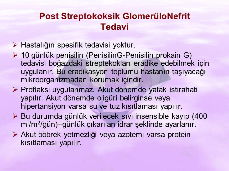 Post Streptokoksik GlomerüloNefrit Tedavi  Hastalığın spesifik tedavisi yoktur.