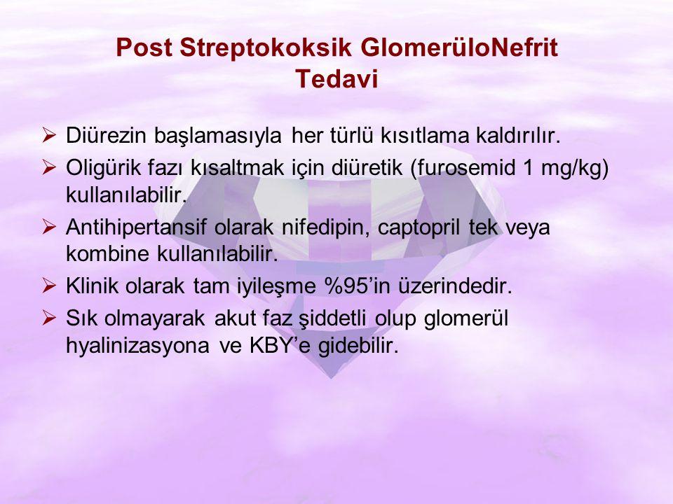 Post Streptokoksik GlomerüloNefrit Tedavi  Diürezin başlamasıyla her türlü kısıtlama kaldırılır.
