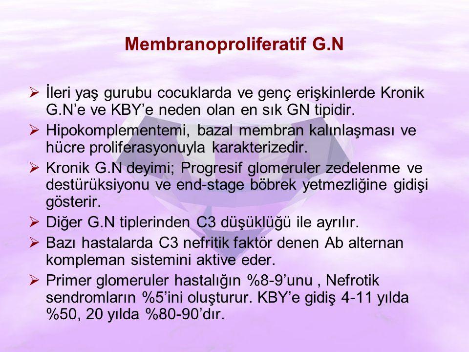  İleri yaş gurubu cocuklarda ve genç erişkinlerde Kronik G.N'e ve KBY'e neden olan en sık GN tipidir.