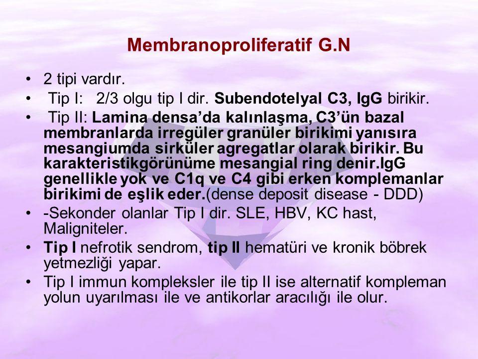 Membranoproliferatif G.N 2 tipi vardır.Tip I: 2/3 olgu tip I dir.
