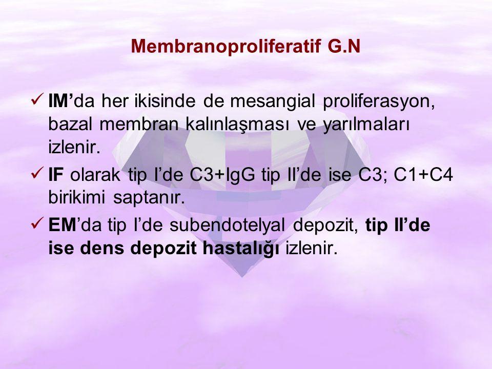 Membranoproliferatif G.N IM'da her ikisinde de mesangial proliferasyon, bazal membran kalınlaşması ve yarılmaları izlenir.