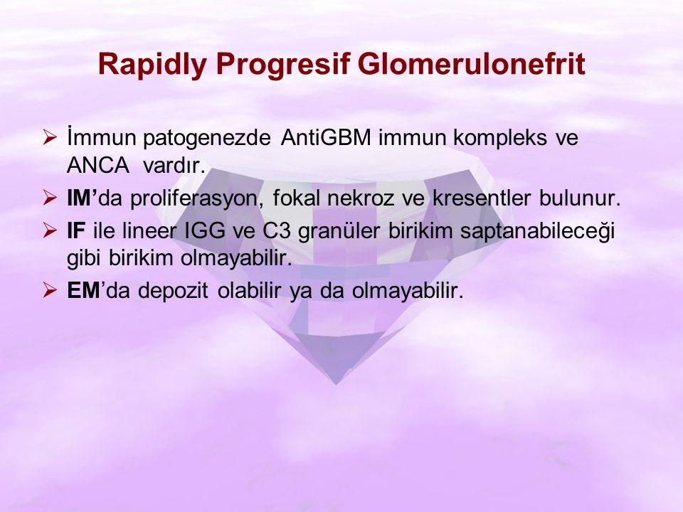 Rapidly Progresif Glomerulonefrit  İmmun patogenezde AntiGBM immun kompleks ve ANCA vardır.