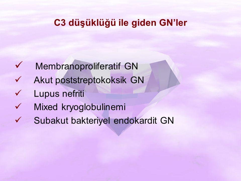 C3 düşüklüğü ile giden GN'ler Membranoproliferatif GN Akut poststreptokoksik GN Lupus nefriti Mixed kryoglobulinemi Subakut bakteriyel endokardit GN