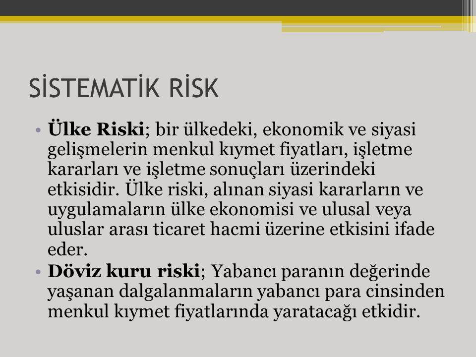 SİSTEMATİK RİSK Ülke Riski; bir ülkedeki, ekonomik ve siyasi gelişmelerin menkul kıymet fiyatları, işletme kararları ve işletme sonuçları üzerindeki etkisidir.