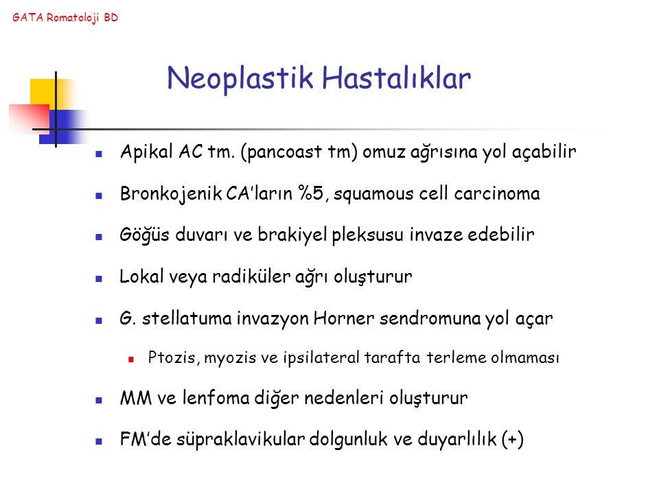 GATA Romatoloji BD Neoplastik Hastalıklar Apikal AC tm. (pancoast tm) omuz ağrısına yol açabilir Bronkojenik CA'ların %5, squamous cell carcinoma Göğü