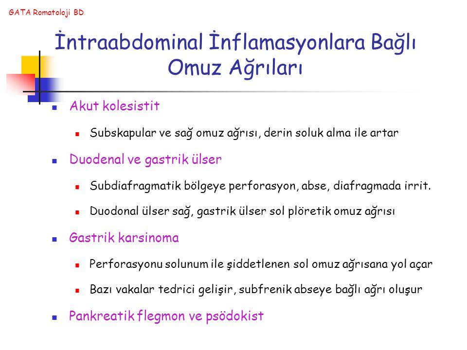 GATA Romatoloji BD İntraabdominal İnflamasyonlara Bağlı Omuz Ağrıları Akut kolesistit Subskapular ve sağ omuz ağrısı, derin soluk alma ile artar Duode