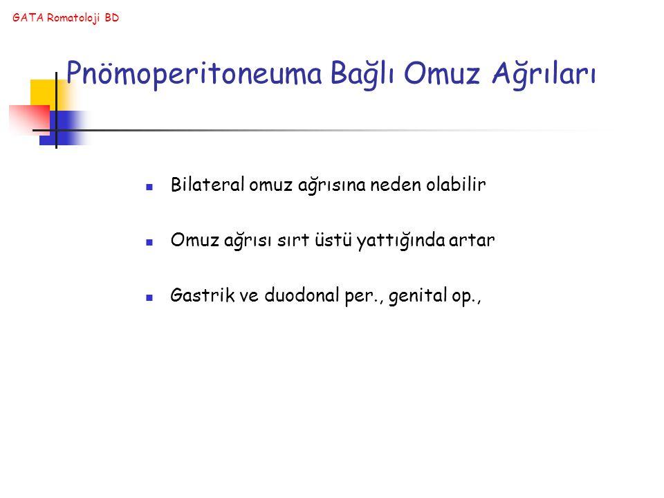 GATA Romatoloji BD Pnömoperitoneuma Bağlı Omuz Ağrıları Bilateral omuz ağrısına neden olabilir Omuz ağrısı sırt üstü yattığında artar Gastrik ve duodo