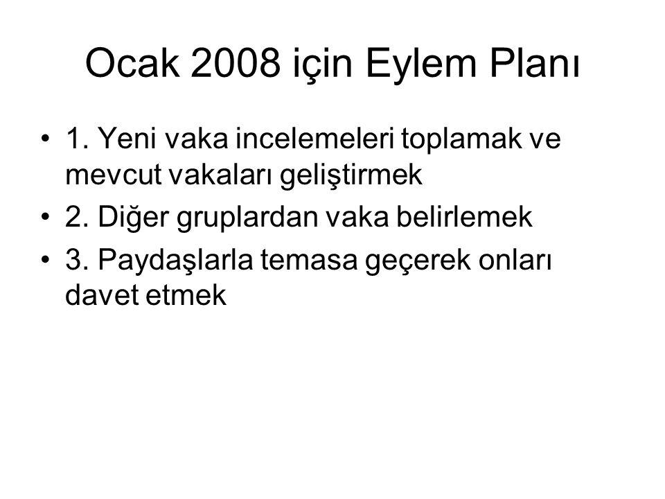 Ocak 2008 için Eylem Planı 1. Yeni vaka incelemeleri toplamak ve mevcut vakaları geliştirmek 2.