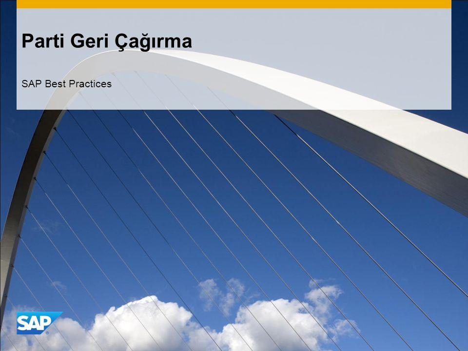 Parti Geri Çağırma SAP Best Practices