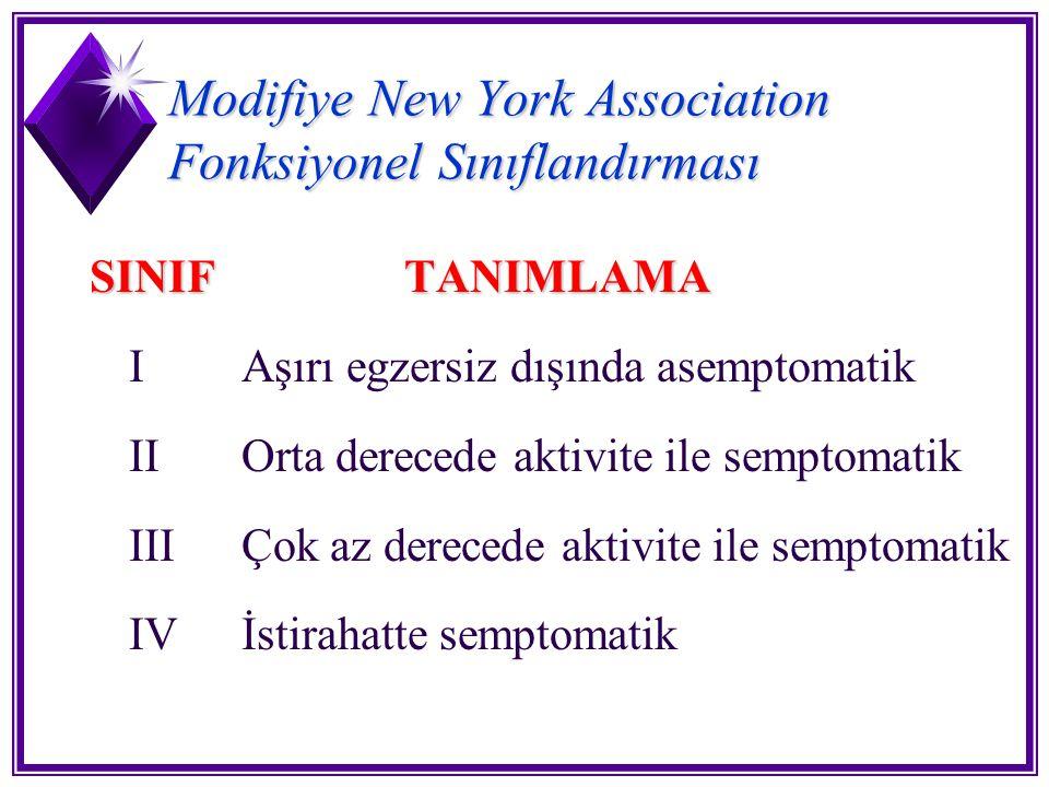 Modifiye New York Association Fonksiyonel Sınıflandırması SINIFTANIMLAMA I Aşırı egzersiz dışında asemptomatik II Orta derecede aktivite ile semptomat