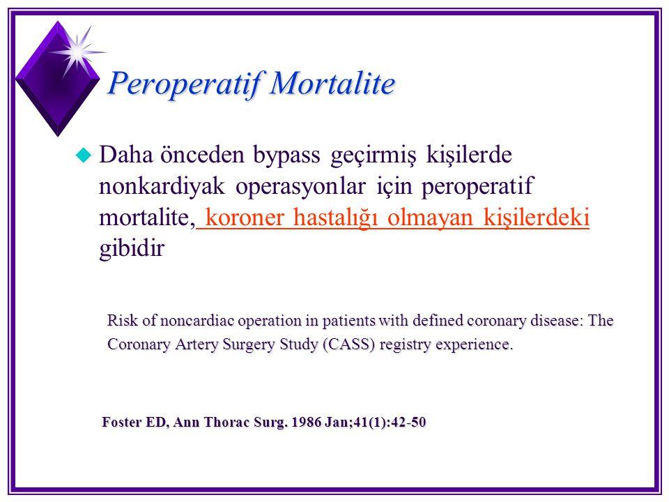Peroperatif Mortalite u Daha önceden bypass geçirmiş kişilerde nonkardiyak operasyonlar için peroperatif mortalite, koroner hastalığı olmayan kişilerd
