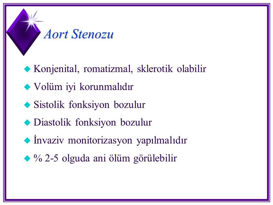 Aort Stenozu u Konjenital, romatizmal, sklerotik olabilir u Volüm iyi korunmalıdır u Sistolik fonksiyon bozulur u Diastolik fonksiyon bozulur u İnvazi