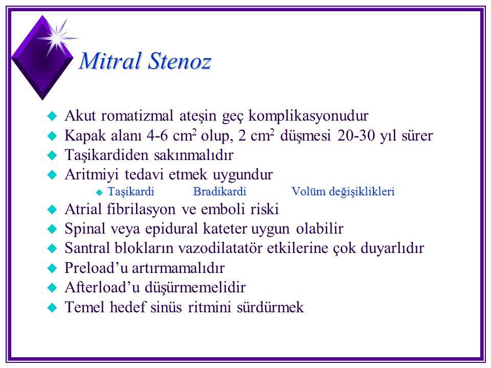 Mitral Stenoz u Akut romatizmal ateşin geç komplikasyonudur u Kapak alanı 4-6 cm 2 olup, 2 cm 2 düşmesi 20-30 yıl sürer u Taşikardiden sakınmalıdır u