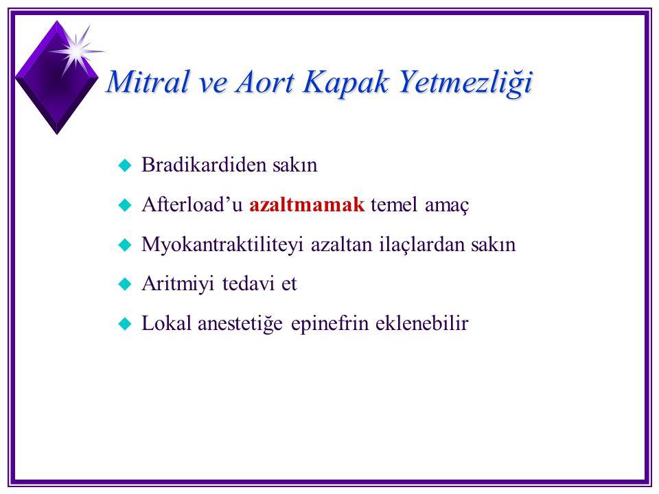 Mitral ve Aort Kapak Yetmezliği u Bradikardiden sakın u Afterload'u azaltmamak temel amaç u Myokantraktiliteyi azaltan ilaçlardan sakın u Aritmiyi ted