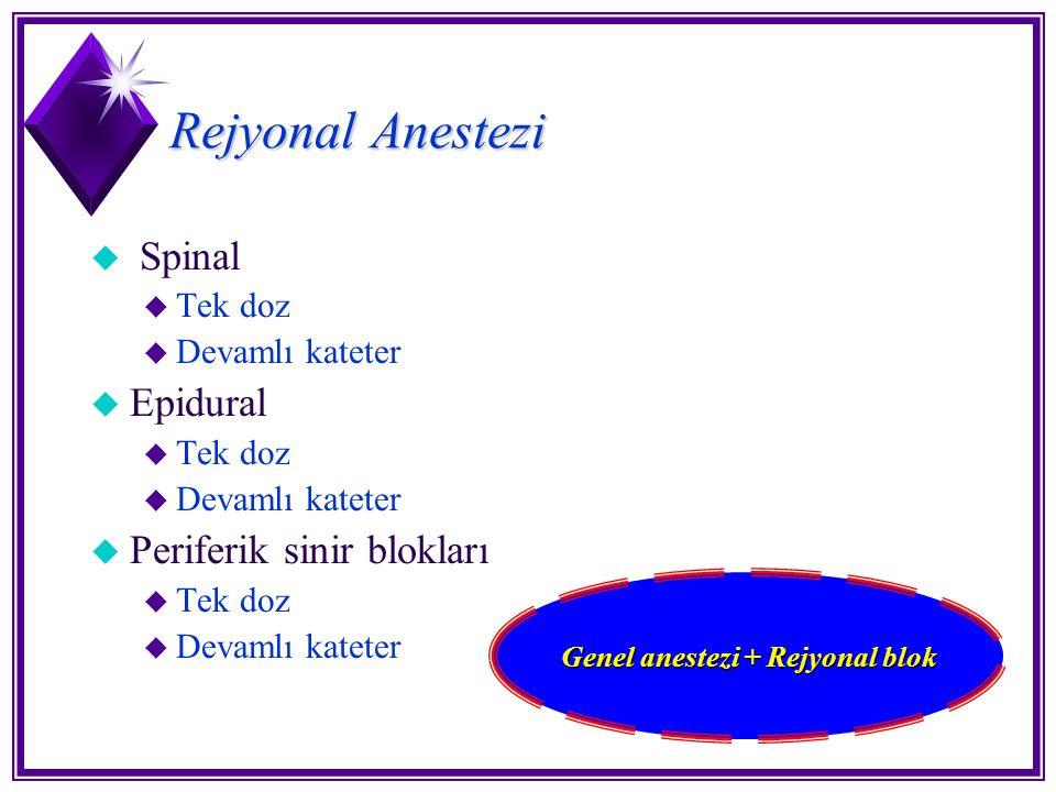 Rejyonal Anestezi u Spinal u Tek doz u Devamlı kateter u Epidural u Tek doz u Devamlı kateter u Periferik sinir blokları u Tek doz u Devamlı kateter G