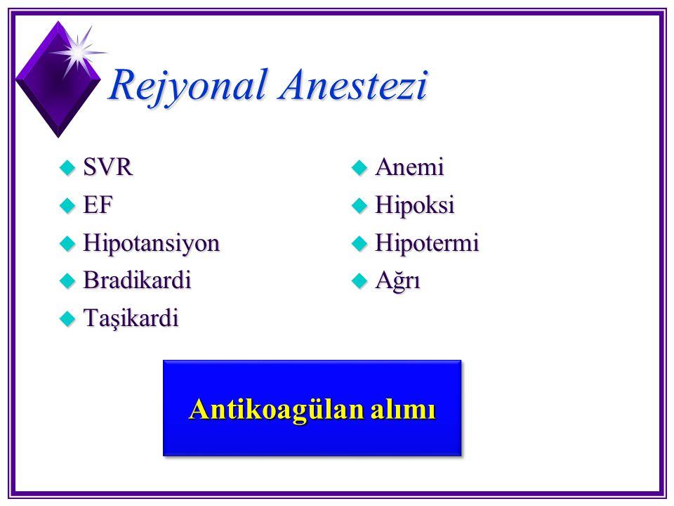 Rejyonal Anestezi u SVR u EF u Hipotansiyon u Bradikardi u Taşikardi u Anemi u Hipoksi u Hipotermi u Ağrı Antikoagülan alımı
