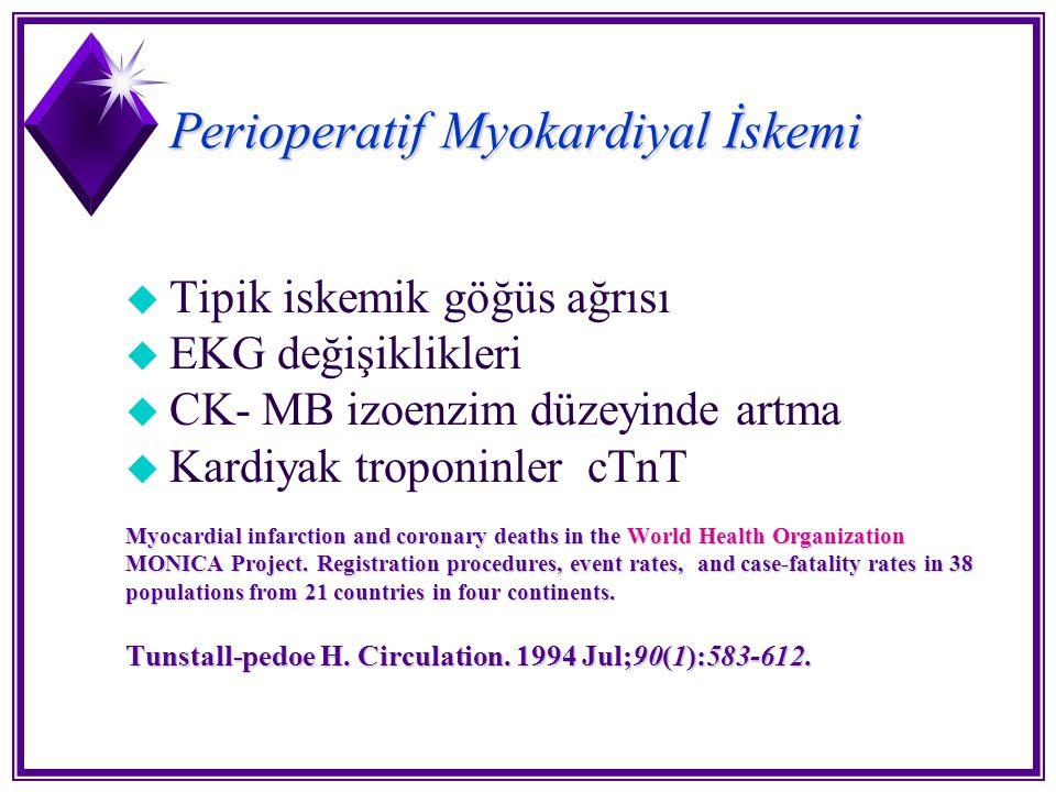 Perioperatif Myokardiyal İskemi u Tipik iskemik göğüs ağrısı u EKG değişiklikleri u CK- MB izoenzim düzeyinde artma u Kardiyak troponinler cTnT Myocar