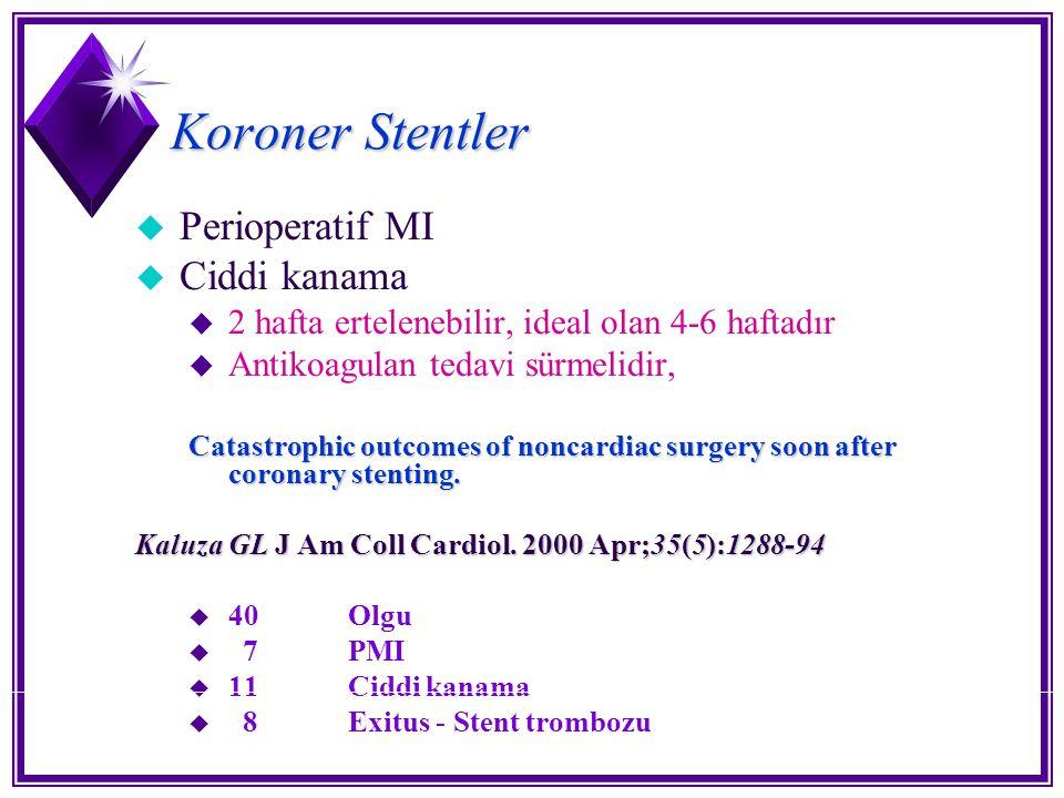 Koroner Stentler u Perioperatif MI u Ciddi kanama u 2 hafta ertelenebilir, ideal olan 4-6 haftadır u Antikoagulan tedavi sürmelidir, Catastrophic outc