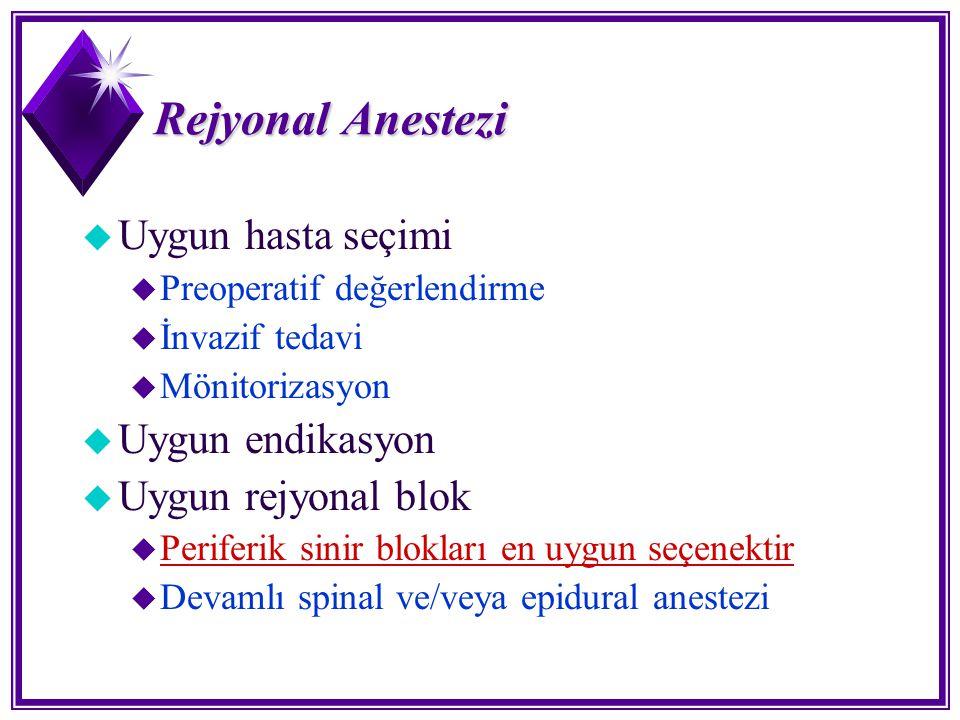 Rejyonal Anestezi u Uygun hasta seçimi u Preoperatif değerlendirme u İnvazif tedavi u Mönitorizasyon u Uygun endikasyon u Uygun rejyonal blok u Perife