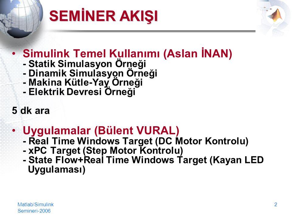 Matlab/Simulink Semineri-2006 2 SEMİNER AKIŞI Simulink Temel Kullanımı (Aslan İNAN) - Statik Simulasyon Örneği - Dinamik Simulasyon Örneği - Makina Kütle-Yay Örneği - Elektrik Devresi Örneği 5 dk ara Uygulamalar (Bülent VURAL) - Real Time Windows Target (DC Motor Kontrolu) - xPC Target (Step Motor Kontrolu) - State Flow+Real Time Windows Target (Kayan LED Uygulaması)
