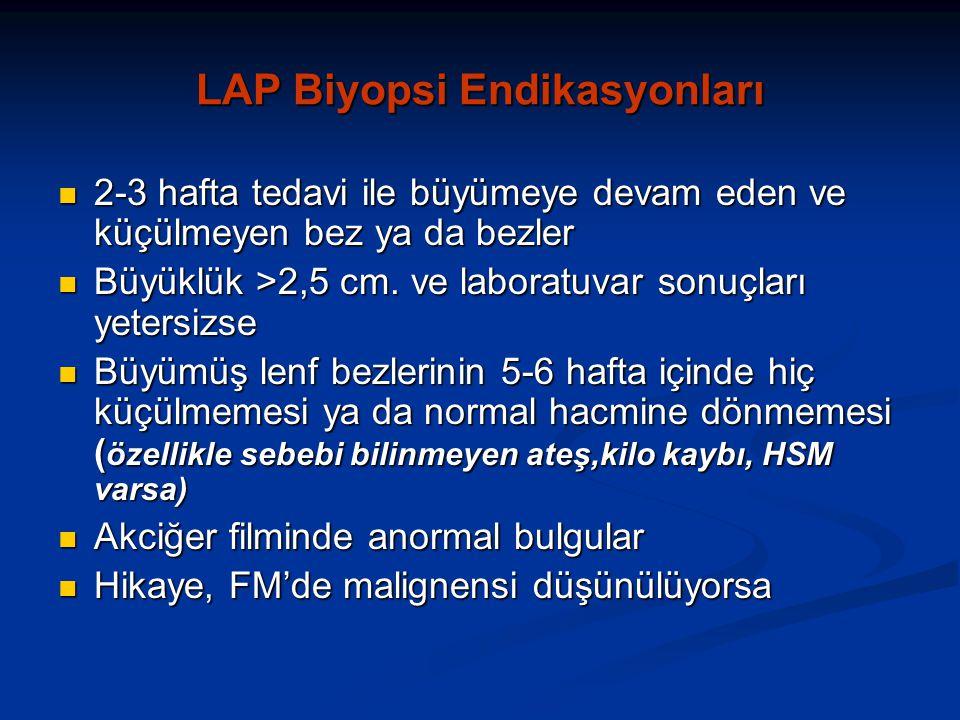 LAP Biyopsi Endikasyonları 2-3 hafta tedavi ile büyümeye devam eden ve küçülmeyen bez ya da bezler 2-3 hafta tedavi ile büyümeye devam eden ve küçülmeyen bez ya da bezler Büyüklük >2,5 cm.