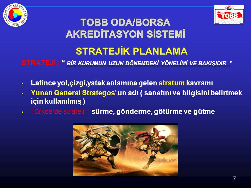 7 STRATEJİ : BİR KURUMUN UZUN DÖNEMDEKİ YÖNELİMİ VE BAKIŞIDIR  Latince yol,çizgi,yatak anlamına gelen stratum kavramı  Yunan General Strategos' un adı ( sanatını ve bilgisini belirtmek için kullanılmış )  Türkçe'de strateji : sürme, gönderme, götürme ve gütme
