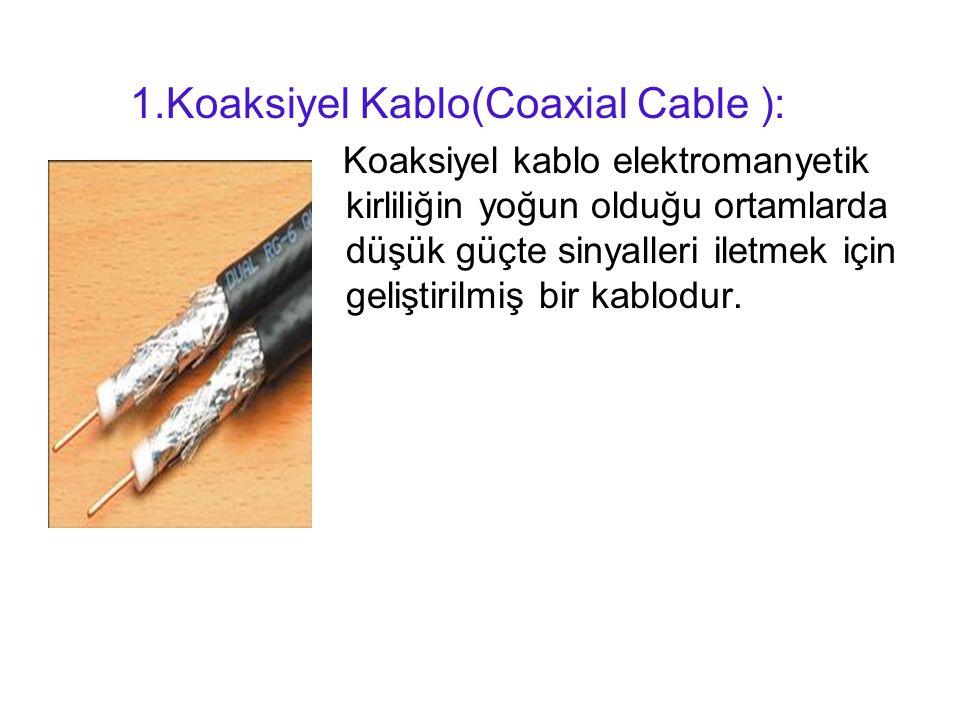 1.Koaksiyel Kablo(Coaxial Cable ): Koaksiyel kablo elektromanyetik kirliliğin yoğun olduğu ortamlarda düşük güçte sinyalleri iletmek için geliştirilmiş bir kablodur.