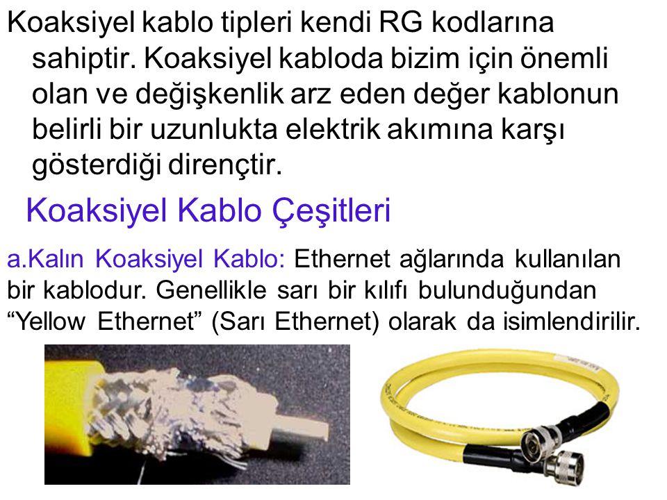 Koaksiyel kablo tipleri kendi RG kodlarına sahiptir. Koaksiyel kabloda bizim için önemli olan ve değişkenlik arz eden değer kablonun belirli bir uzunl