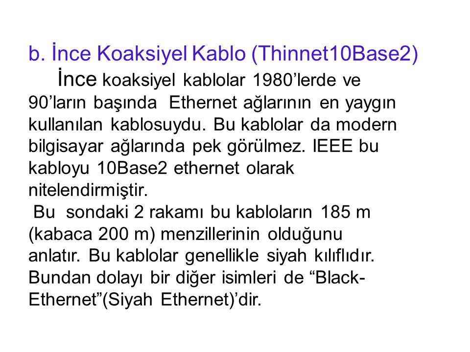 b. İnce Koaksiyel Kablo (Thinnet10Base2) İnce koaksiyel kablolar 1980'lerde ve 90'ların başında Ethernet ağlarının en yaygın kullanılan kablosuydu. Bu
