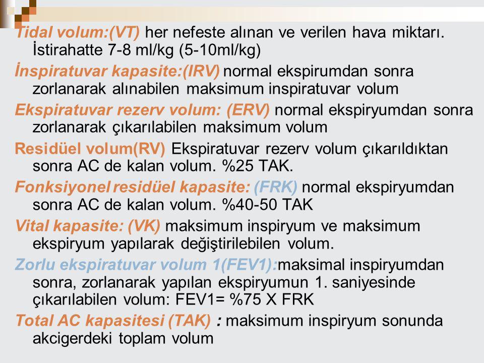 Tidal volum:(VT) her nefeste alınan ve verilen hava miktarı. İstirahatte 7-8 ml/kg (5-10ml/kg) İnspiratuvar kapasite:(IRV) normal ekspirumdan sonra zo