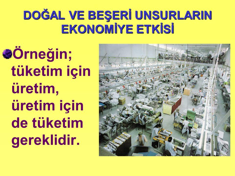 DOĞAL VE BEŞERİ UNSURLARIN EKONOMİYE ETKİSİ Örneğin; tüketim için üretim, üretim için de tüketim gereklidir.