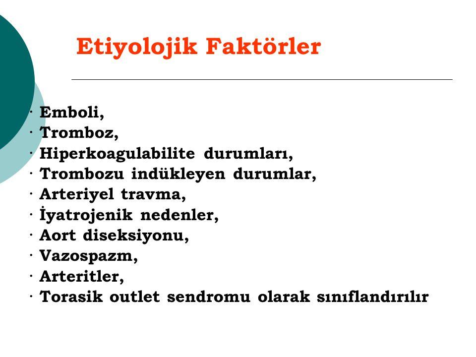 Etiyolojik Faktörler · Emboli, · Tromboz, · Hiperkoagulabilite durumları, · Trombozu indükleyen durumlar, · Arteriyel travma, · İyatrojenik nedenler,