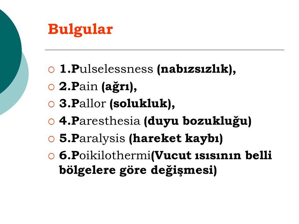 Bulgular  1.P ulselessness (nabızsızlık),  2.P ain (ağrı),  3.P allor (solukluk),  4.P aresthesia (duyu bozukluğu)   5.P aralysis (hareket kaybı