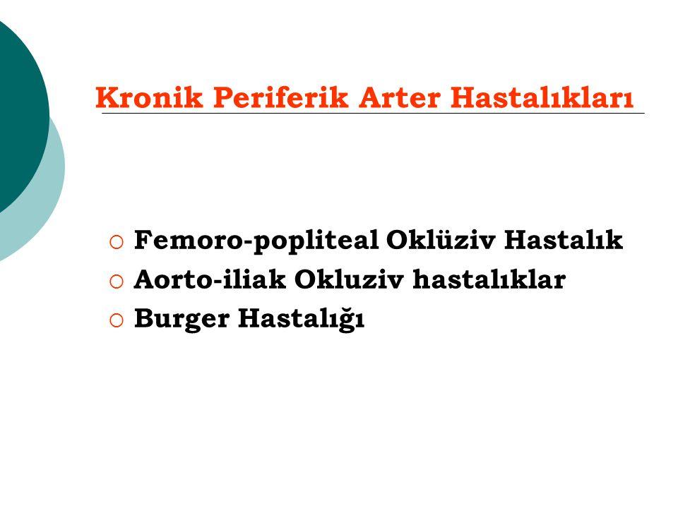  Femoro-popliteal Oklüziv Hastalık  Aorto-iliak Okluziv hastalıklar  Burger Hastalığı