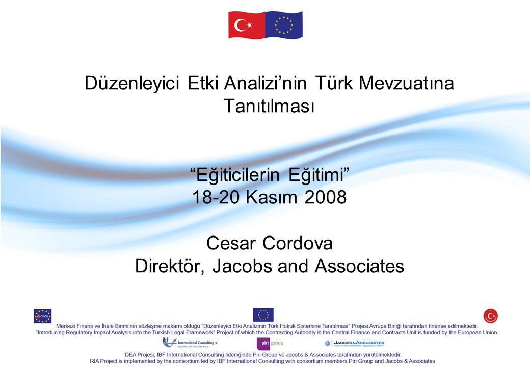 """Düzenleyici Etki Analizi'nin Türk Mevzuatına Tanıtılması """"Eğiticilerin Eğitimi"""" 18-20 Kasım 2008 Cesar Cordova Direktör, Jacobs and Associates"""