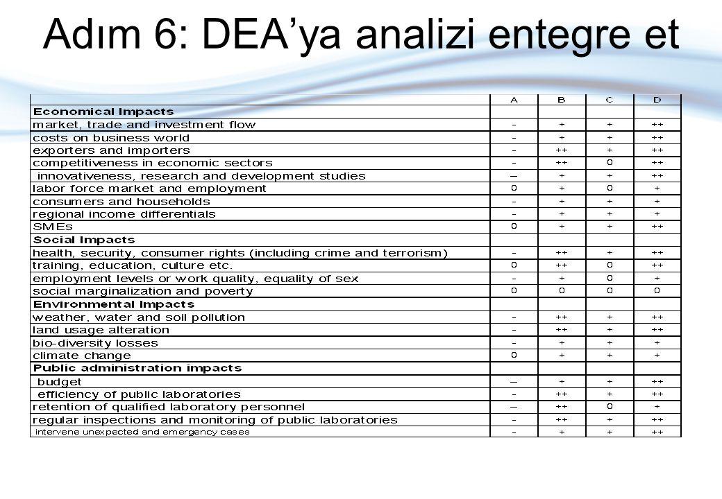 Adım 6: DEA'ya analizi entegre et